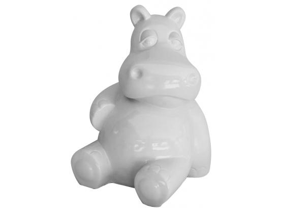 Statue Hippopotame Assis Blanc en Résine - 50 CM