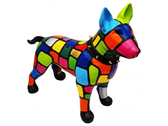 Sculpture Bull Terrier en résine Smarties - 115 cm