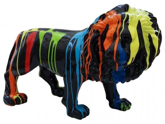 Sculpture en résine Lion design Trash Noir - 100 cm