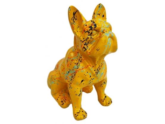 Statue Bouledogue français assis Design Splash jaune - 30 cm