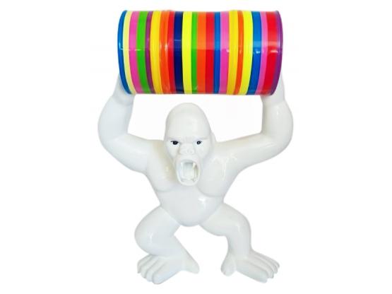 Statue en résine Singe Gorille bidon trash blanc - 97 cm