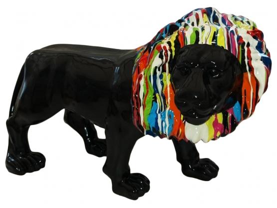 Sculpture en résine Lion Noir Crinière colorée - 100 cm
