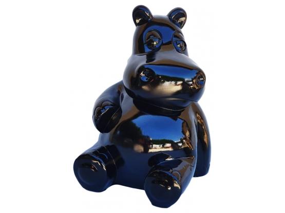 Sculpture Hippopotame Assis Noir en Résine - 50 CM