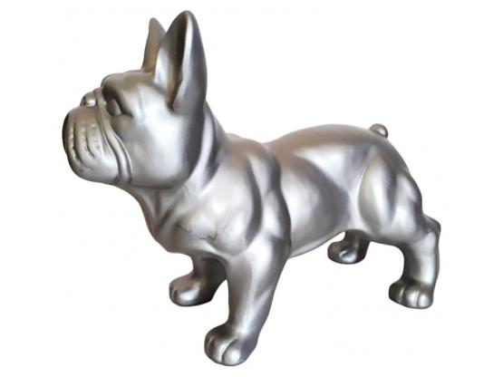 Statue en résine Bouledogue français monochrome - 45 cm