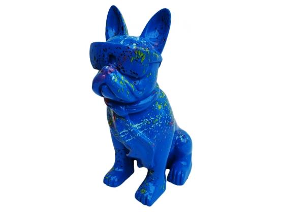Statue Bouledogue français Cravate et Lunette Design Splash bleu - 40 cm