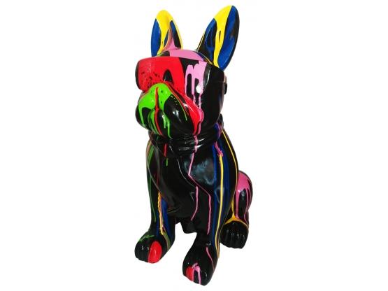 Sculpture en résine Bouledogue lunettes colorées XL - 80 cm