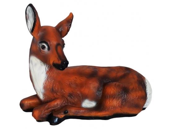 Statue en résine d'une biche couché - 60 cm
