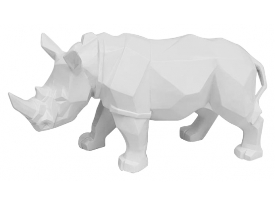 Sculpture en résine Rhinocéros Origami Blanc - 35 cm