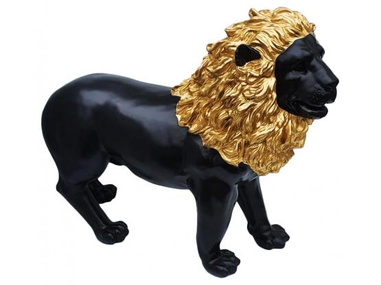 Sculpture en Résine Lion design Noir et Or - 100 cm