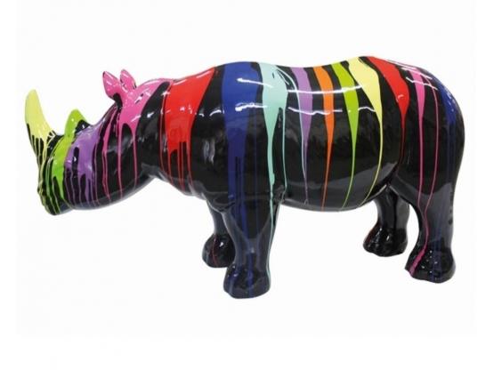 Sculpture Rhinocéros Design Trash Noir en Résine - 170 CM
