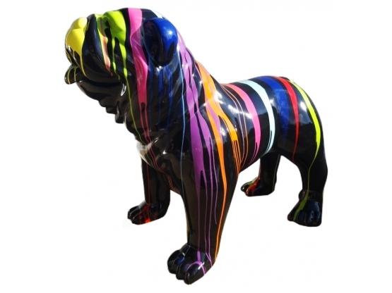 Sculpture Bouledogue Anglais XL ultra brillant Design Trash - 120 cm