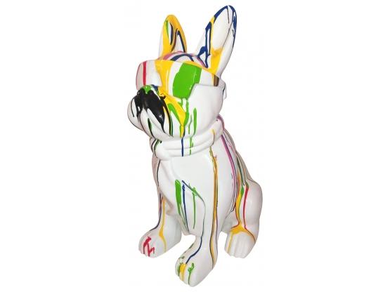 Sculpture en résine bouledogue lunette et cravate coloré XL - 80 cm