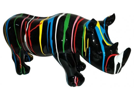 Sculpture en résine Rhinocéros ULTRA BRILLANT - 76 cm