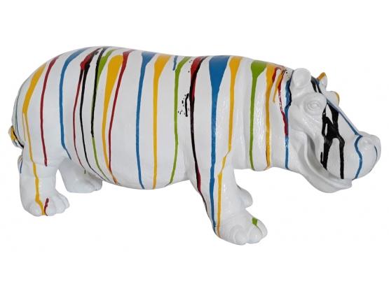 Sculpture Hippopotame Trash Blanc en Résine - 60 CM