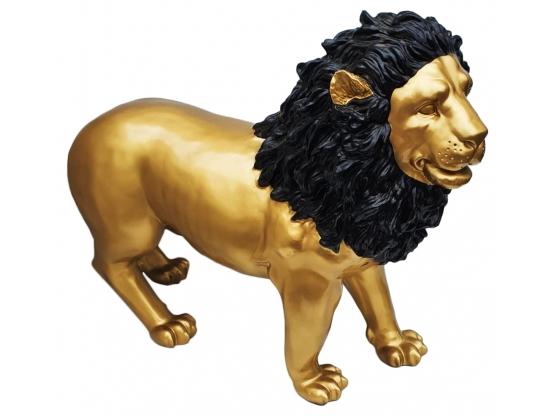 Sculpture Lion design Or et Noir - 100 cm