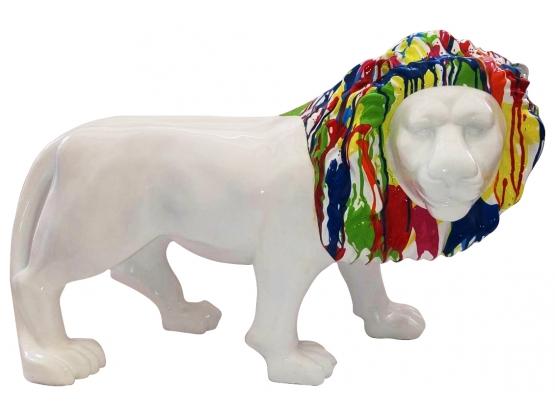 Sculpture Lion Blanc crinière colorée - 100 cm