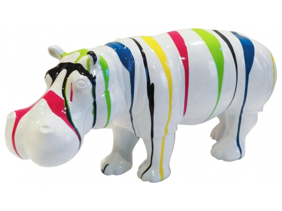 Sculpture Hippopotame Design Trash blanc Ultra Brillant - 70 CM
