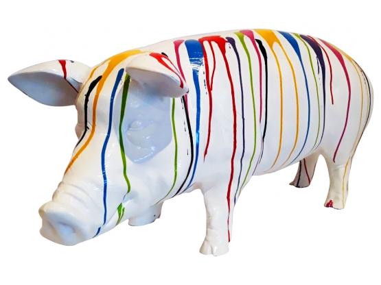 Sculpture en Résine Cochon Design Trash Blanc - 100 cm