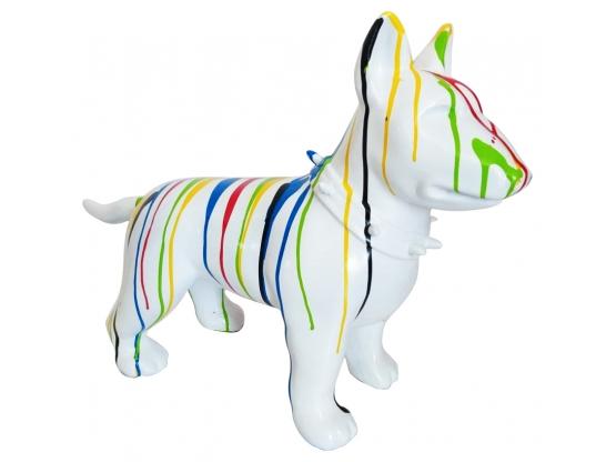 Sculpture en résine Bull terrier coloré - 43 cm