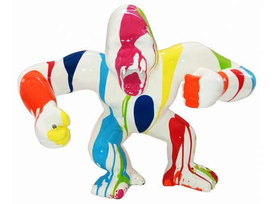 Sculpture Gorille Design Trash Blanc - 45 CM
