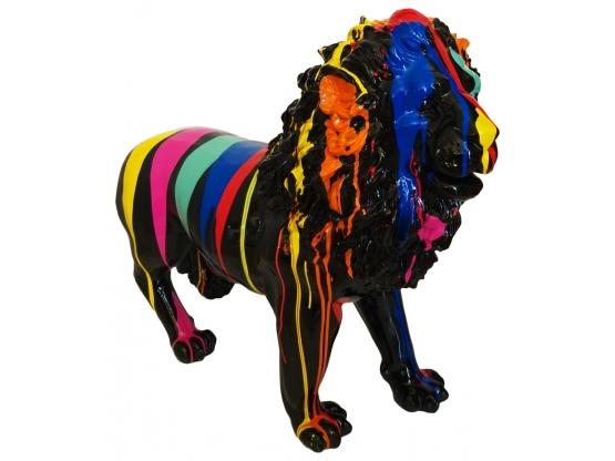 Sculpture Lion Design Trash Noir en Résine - 100 CM