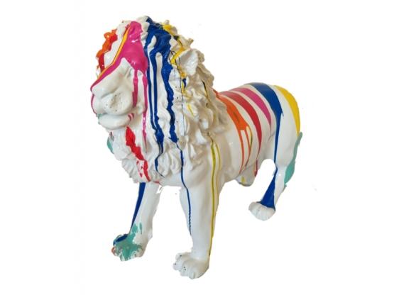 Sculpture Lion design Trash Blanc - 100 cm