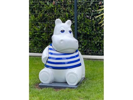 Sculpture Hippopotame Assis Marinière XXL en Résine - 100 CM