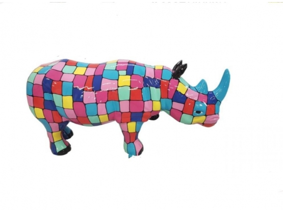 Sculpture Rhinocéros Multicolore en Résine - 170 CM