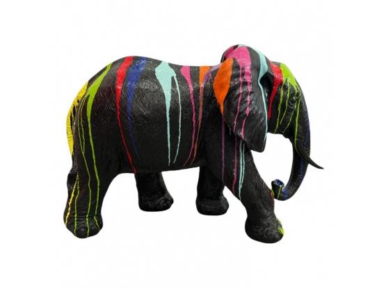 STATUE ELEPHANT EN RESINE NOIR TRASH